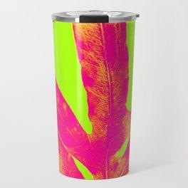 Green and Ultra Bright Coral Fern Travel Mug