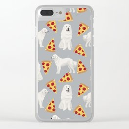 Great Pyrenees pizza dog portrait custom dog breed art print dog person gifts for christmas Clear iPhone Case