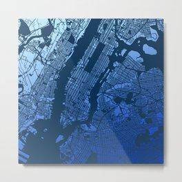 New York City Manhattan Two Tone Map Metal Print