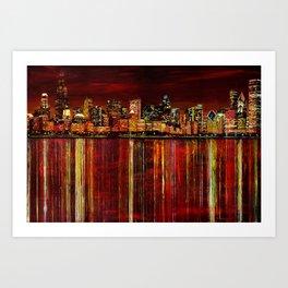 Chicago Night Skyline Art Print