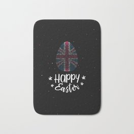 Happy Easter and Easter egg with United Kingdom flag Bath Mat