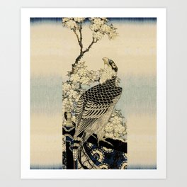 Hokusai -falcon next to a plum tree in bloom - 葛飾 北斎,hawk,bird. Art Print
