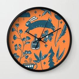 Prancing Rabbit - Orange Wall Clock