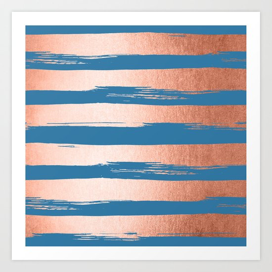 Trendy Stripes Sweet Peach Coral Pink + Saltwater Taffy Teal Art Print