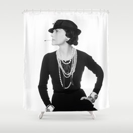 Fashion Icon, French Woman with Pearls, Black and White Art Shower Curtain