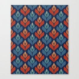 Blue & Red Retro Trefoil Pattern Canvas Print