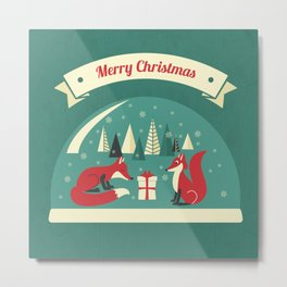 Christmas Foxes Metal Print