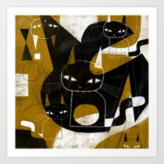 ABSTRACT WITH FIVE CATS Art Print