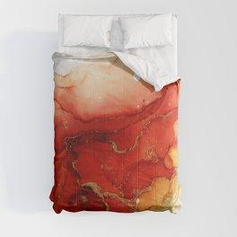 Golden Flames Abstract Ink - Part 2 Comforters