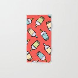 Bubble Tea Pattern in Red Hand & Bath Towel