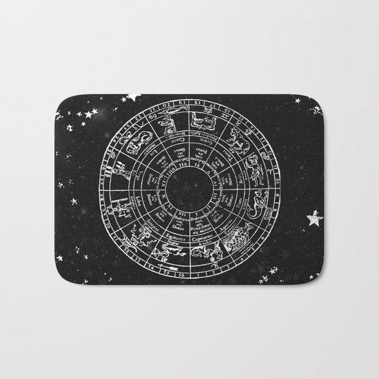 Black and White Vintage Star Map Bath Mat