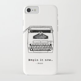 Begin It Now: Retro Typewriter Artwork iPhone Case
