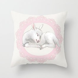 Sleeping Lamb in Pink Lace Wreath Throw Pillow