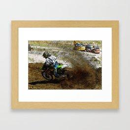 Round the Bend - Dirt-Bike Racing Framed Art Print