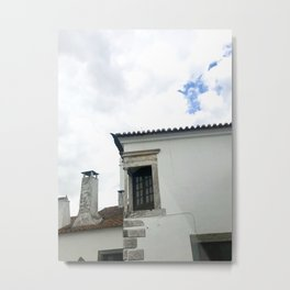 Cloudy Day | Old White Building Metal Print