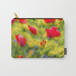 English Summer Flowers Pastel Art Carry-All Pouch