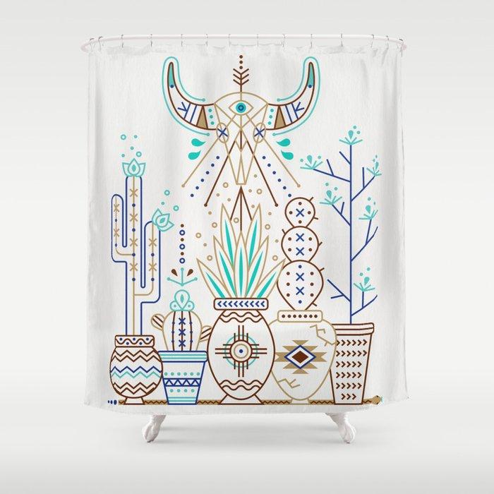 Santa Fe Garden Turquoise Brown Shower Curtain