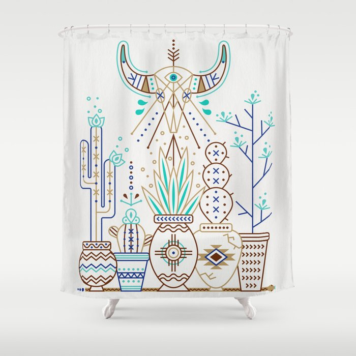 Santa Fe Garden Turquoise Brown Shower Curtain