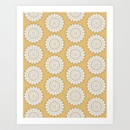 MINIMALIST MANDALA COLLAGE III (GOLDEN, MUSTARD YELLOW) Art Print