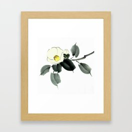 White camellia sumi ink and japanese watercolor painting Framed Art Print
