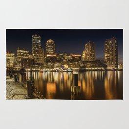 BOSTON Fan Pier Park & Skyline at night Rug
