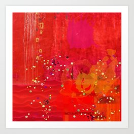 Red Abstract Art Collage Art Print