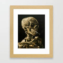 Skull Of A Skeleton With Burning Cigarette Framed Art Print