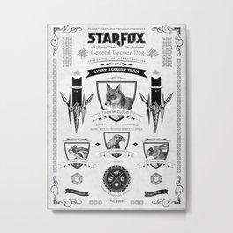 Star Fox Vintage Poster Geek Line Artly Metal Print