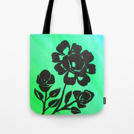 Green Silhouette Roses Varigated Background Acrylic Art Tote Bag