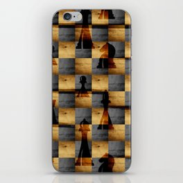 Wooden Chessboard and Chess Pieces  pattern iPhone Skin