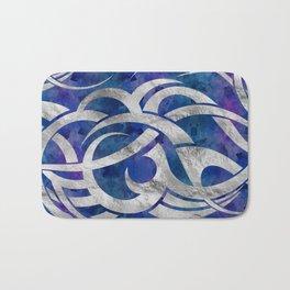 Abstract Maori curve shapes - Silver & Purple Bath Mat