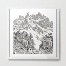 BEYOND MOUNT SHUKSAN BLACK AND WHITE VINTAGE PEN DRAWING Metal Print