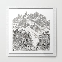 BEYOND MOUNT SHUKSAN BLACK AND WHITE VINTAGE PEN DRAWING Metal Print