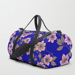 Abstract blush pink brown sky blue flowers Duffle Bag