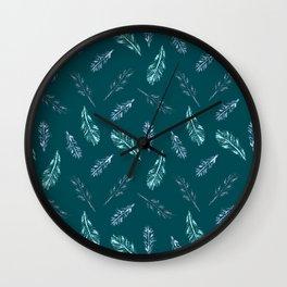 Pencil Feathers Pattern on Midnight Green Wall Clock