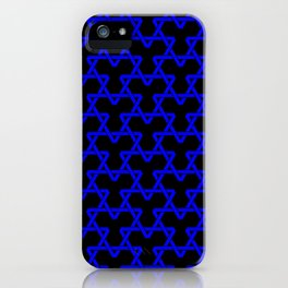 Blue Triangles on Black iPhone Case