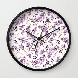 Blush pink lavender watercolor hand painted floral pattern Wall Clock
