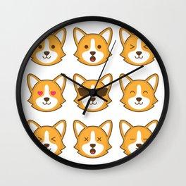 cute corgi dog emoticon pattern Wall Clock