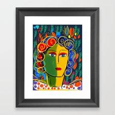 The Green Yellow Pop Girl Portrait Framed Art Print