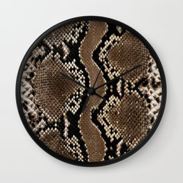 Faux Rock Python Snake Skin Design Wall Clock