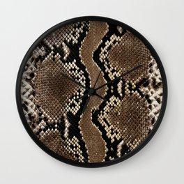 Faux Rock Python Snake Skin Design Wall Clock