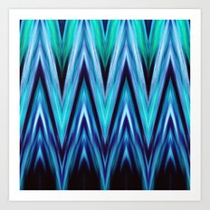 Abstract Blue Teal Zigzags Art Print