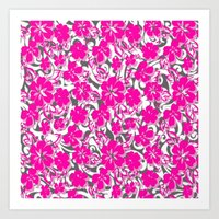 flower pattern Art Prints featuring Flower Pattern  by Sammycrafts