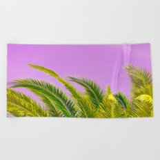 Green palm leaves on a pink background - #Society6 #Buyart Beach Towel