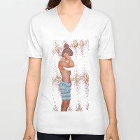 hunter V-neck T-shirts featuring Hunter by Kim Leutwyler