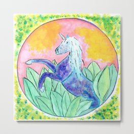 Blue Unicorn Metal Print