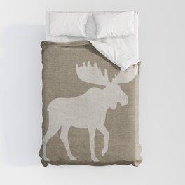 White Moose Silhouette Duvet Cover