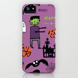 Cute Frankenstein and friends purple #halloween iPhone Case