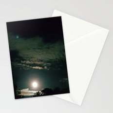 Green full moon Stationery Cards