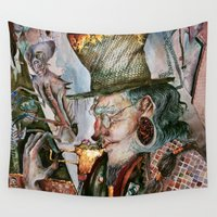 cafe Wall Tapestries featuring Time Cafe by Zara Kunst